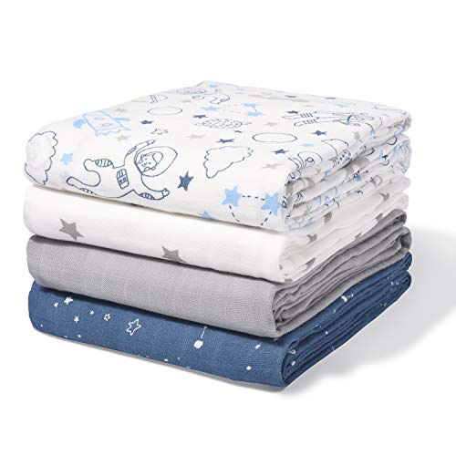 Momcozy Muslin Swaddle Blanket Baby Girl Newborn, 4 Pack Large Wrap Swaddle Blankets Soft Silky Breathable (70% Bamboo + 30% Cotton), Receiving Blanket, Space Roam Patterns