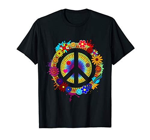 Flower Power Hippie Peace 60er 70er Jahre Motto Party Outfit T-Shirt