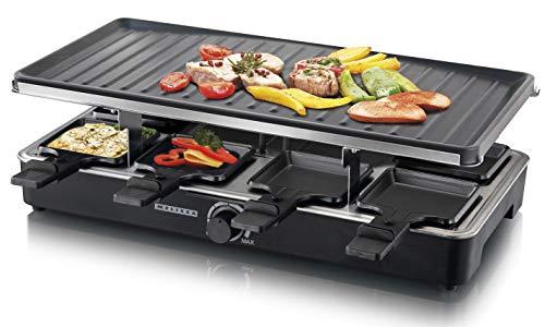 MELISSA 16300023 Grill für 8 PersonenTischgrill Raclette mit Temperaturregler für die ganze Familie, schwarz