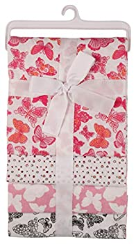 Nicole Miller New York Baby Girls 4 Pack Laddered Receiving Blankets with Print Butterfly World  GS71388