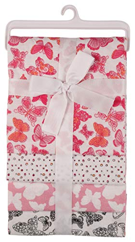 Nicole Miller New York Baby Girls 4 Pack Laddered Receiving Blankets with Print, Butterfly World (GS71388)