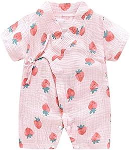 MAYOGO Bebé ReciéN Nacido Kimono Bata Estampado Bebé NiñO Manga Corta V-Cuello Verano Mono Pijama Correa Bebé niño Mameluco de Baño para Bebe de 0-24 Meses