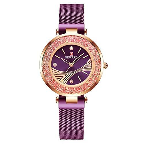 JCCOZ-URG Reloj de Pulsera de Mujeres de los Relojes del Reloj de Diamantes de línea de Acero Inoxidable Marca de Lujo de Las señoras de la Tendencia del Reloj Impermeable Regalos Femeninos URG