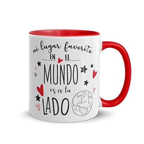Kembilove Tazas de Desayuno para Parejas – Taza de Café Rojas con Mensaje Mi lugar favorito en el mundo es a tu lado – Regalos Originales para Regalar en San Valentín, Cumpleaños – Tazas de 350 ml