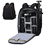 CADeN Camera Backpack Professional Large Anti-Theft Photography Bag Backpack with 13' Laptop Compartment Case Compatible with Nikon Canon Sony Cameras and Lenses Tripod Accessories (Black)