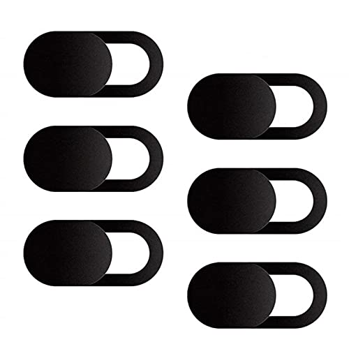 Ealicere 6 Set Schwarz Webcam Abdeckung,Ultra dünne Webcam Cover für Laptop Handy Tablet MacBook iMac iPad,Schützen Sie Ihre Privatsphäre Online (0.01cm)