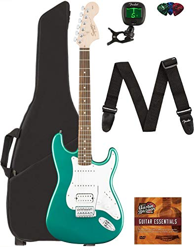 Fender Squier Affinity Stratocaster HSS - Race Green Bundle with Gig Bag, Tuner, Strap, Picks, and Austin Bazaar Instructional DVD