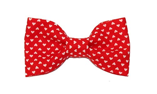 amy2004marie Toddler Boy 3T 4T Red With Small White Hearts Clip On Cotton Bow Tie