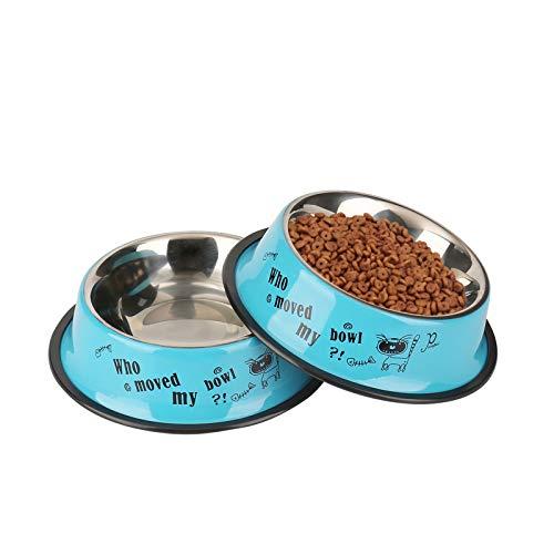 WBYJ Hundenapf, 2 Stück Edelstahl Hundenapf | rutschfest | Melamin-Napf für kleine & große Hunde | Futter- und Trinknapf für Hunde und Katzen (M 18cm)