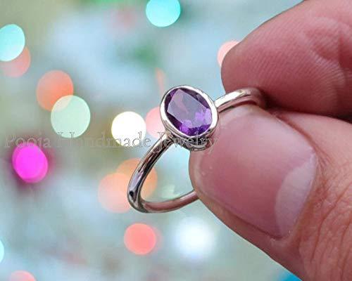 Solid 14k Gold Amethyst Ring Dainty Amethyst Ring 925 Sterling Silver Amethyst Ring Dainty Amethyst Ring Stacking Amethyst Ring Dainty Ring