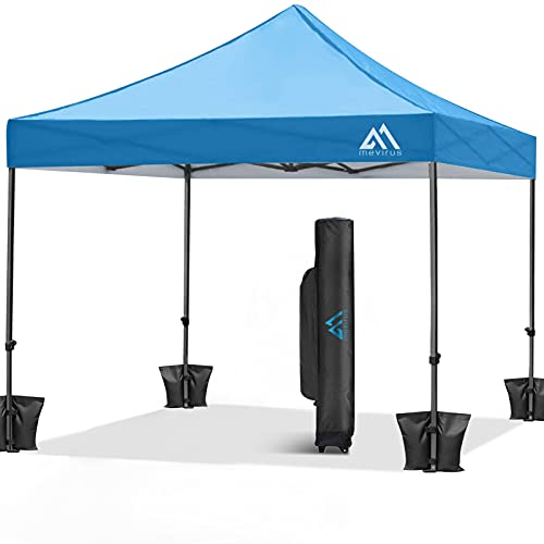 Mevirus Pop Up Canopy Tent 10'x10', Outdoor Easy Up Shade Canopy Instant Shelter, Anti-UV Beach Canopy with Wheeled Carry Bag, 4 Ropes, 4 Weight Bags and 8 Stakes(Blue)