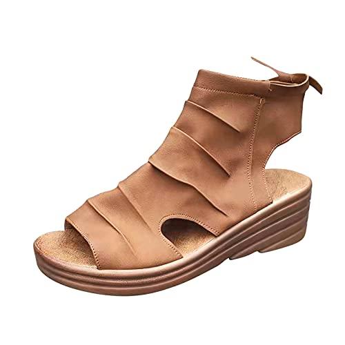 Todidafa - Sandalias con plataforma abierta en forma de almendra, para mujer, vendas cortical de verano y sandalias de tacón medio, zapatos con tirantes para damas de boca de pescado