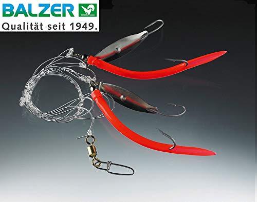 Balzer Dorsch & Köhler System 1,60m 1mm 4 Haken Gr. 5/0 - Meeresrig zum Dorschangeln, Meeresvorfach zum Meeresangeln, Meeressystem