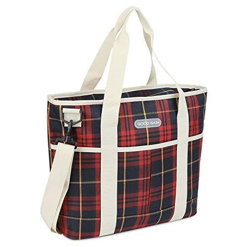 Goede Gain geïsoleerde tas, koeler tas met rits geschenk, picknick herbruikbare Canvas Lunch Bag Carrier, Outdoor Shopping Beach Market Tote (rode check)