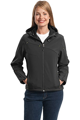 Port Authority® Ladies Textured Hooded Soft Shell Jacket. L706 Charcoal/Lemon