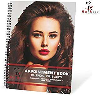 """Salon Appointment Book Planner – Undated Professional Spiral Notebook Organizer and Scheduler for Hair Stylists - 4 Columns, 15 Minute Slots, 8"""" x 13.5"""" -By HairDay Care"""
