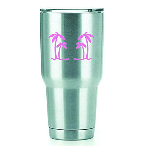 Palm Trees Vinyl Decals Stickers (2 Pack!!!) | Yeti Tumbler Cup Ozark Trail RTIC Orca | Decals Only! Cup not Included! | 2-4 X 2.5 inch Pink Decals | KCD1554P