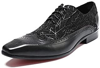 CLG-FLY Men's Shoes Real Leather Nappa Leather All Season Formal Shoes Comfort Novelty Oxfords Split Joint Lace-up for Wedding Party & Evening