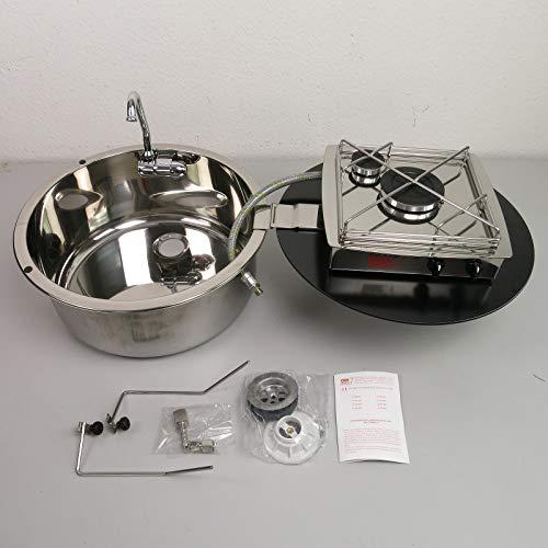 CAN - Hornillo de gas de 2 fuegos con fregadero de acero inoxidable de 380 mm y cubierta de cristal...