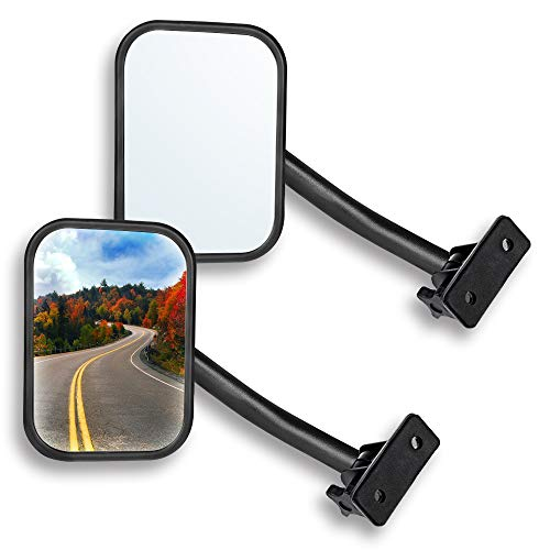 Door Off Mirror Compatible with Jeep Wrangler TJ JK 4x4 Off-road Morror Rectangular Mirrors Quick Release Side View Mirror, 2 Pack