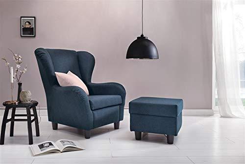 Furniture for Friends Möbelfreude® Ohrensessel Blau Wohnzimmersessel mit Hocker