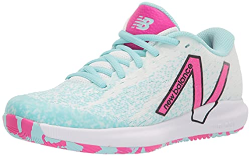 New Balance Women's FuelCell 996 V4 Hard Court Tennis Shoe, White/Pink Glo/Glacier, 9