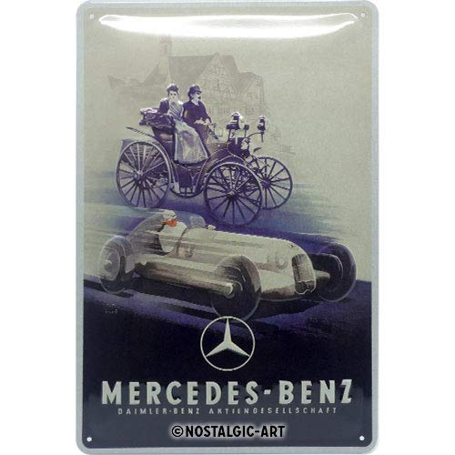 Nostalgic-Art Mercedes-Benz - Silver Arrow Historic Blechschild 20 x 30 cm, Metall, Vintage-Dekoration, 20x30 cm