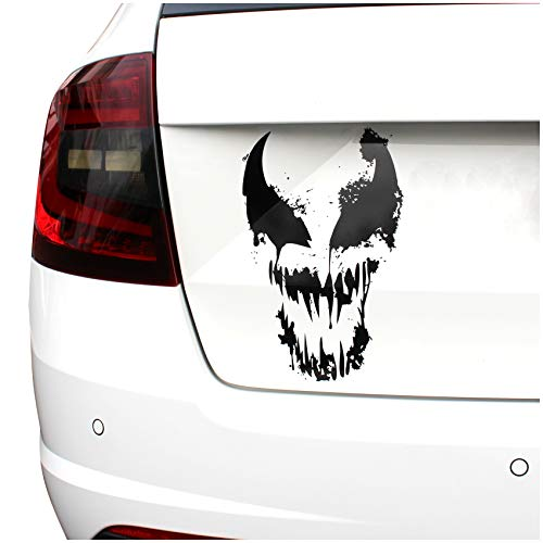 Finest Folia Skull Alien Monster Aufkleber Sticker Auto Boot Motorrad Caravan Dekor K078 (Weiß Glanz, 28x18cm)