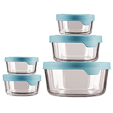 Anchor Hocking 13397ECOM Trueseal Glass Food Storage Containers with Airtight Lids, Mineral Blue