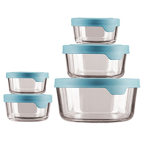 Anchor Hocking TrueSeal Glass Food Storage Containers with Airtight Lids Mineral Blue - 13397ECOM
