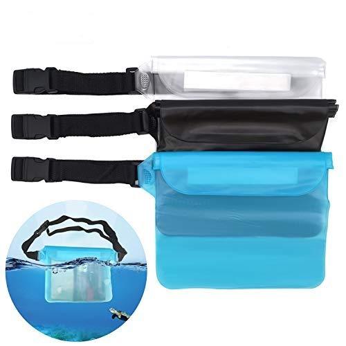 None Branded 3 Piezas Riñonera Impermeable con cinturón Ajustable función Impermeable de 3 Capas para Playa y Piscina