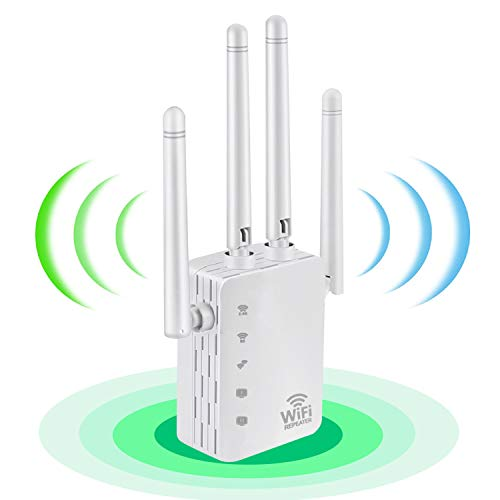 WiFi Range Extender,1200Mbps Wireless Extenders Signal Repeater for Home, Dual Band 2.4G and 5G Booster, 4 Antennas 360° Full Coverage, WiFi Boosters for The House