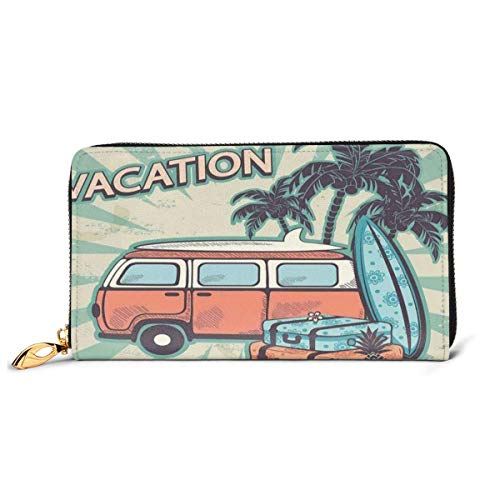 Women's Long Leather Card Holder Purse Zipper Buckle Elegant Clutch Wallet, Hippie Van Near Coconut Palm Trees Floral Suitcases and Surf Boards,Sleek and Slim Travel Purse
