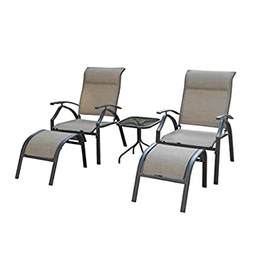 Backyard Classics Astoria 5-Piece Patio Seating Set with Adjustable Sling Chair, Ottomans and Glass Table Top