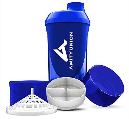 Eiweiß Shaker Deluxe 700 ml mit Sieb - ORIGINAL Fitness Mixer - Protein Shaker auslaufsicher - BPA frei, Mit Skala für cremige Whey Proteinpulver Shake Laktosefrei und BCAA Kapseln in Dunkelblau Cup