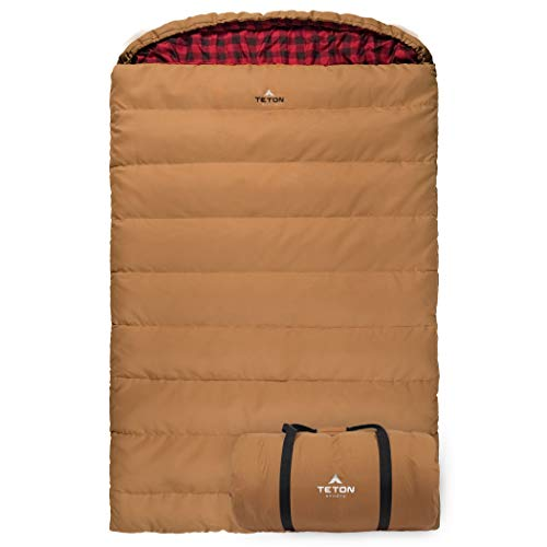 TETON Sports Canvas Mammoth Queen-Size Double Sleeping Bag; Warm and Comfortable for Family Camping