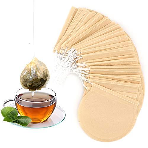 STARUBY 100 Stück Einwegfilterpapier Teebeutel Einweg Teefilterbeutel Mehrzweck Sieb, leerer Teebeutel Einweg Teefilter mit Kordelzug für Teesuppenbeutel, rund, 7,5 cm Durchmesser