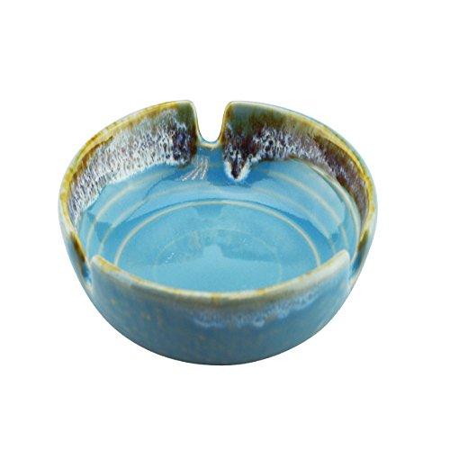Rockin Gear Ashtray Glazed Designer Ceramic Beautifully Handcrafted Cigarette Cigar Ashtray (Blue)