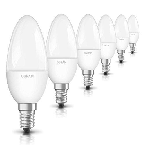 Osram LED SuperStar Classic B Lampe, in Kerzenform mit E14-Sockel, dimmbar, Ersetzt 40 Watt, Matt, Warmweiß - 2700 Kelvin, 6er-Pack