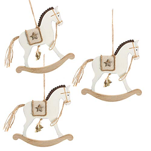 Logbuch-Verlag 3 colgantes de caballo balancín blanco de 17 cm – colgantes de Navidad para regalos – Decoración de árbol de Navidad estilo rústico