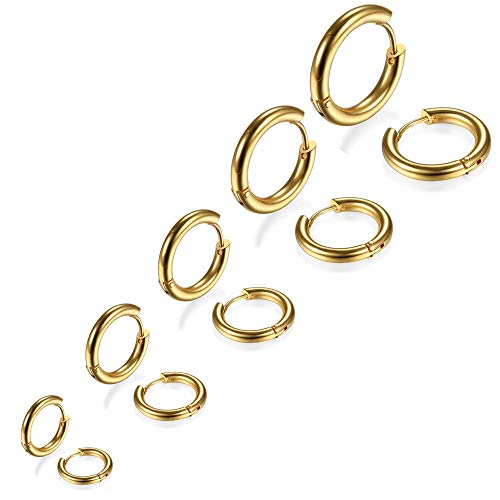 5 Paare Edelstahl Gold Ohrringe für Herren Damen, Ohrringe Herren Creolen, Ohrringe Männer Gold, Ohrringe Damen Gold, Ohrringe Creolen Herren Damen,Ohrringe Gold Creolen Klein Set Titan 8MM-16MM