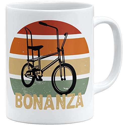 OM3® Bonanza Fahrrad Tasse |V | Keramik Becher | 11oz 325ml | Beidseitig Bedruckt | Weiss