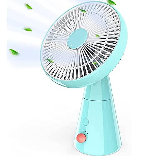 HLHome Ventilador Silencioso, 5000 mAh Ventilador a Pilas Potente, 25 cm Ventilador de Mesa, 4 Velocidades Ventilador Sin Cable para la Oficina, Cuarto, Viajar, Acampar (Azul)
