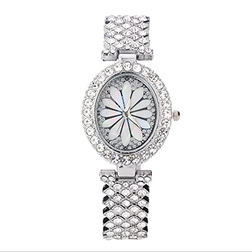 Ladies Watches, Ladies Fashion Watches, Clocks, Stainless Steel Casual Wear Wrists, Crystal Jewelry, Girls Ladies Watches (Color : Sliver)