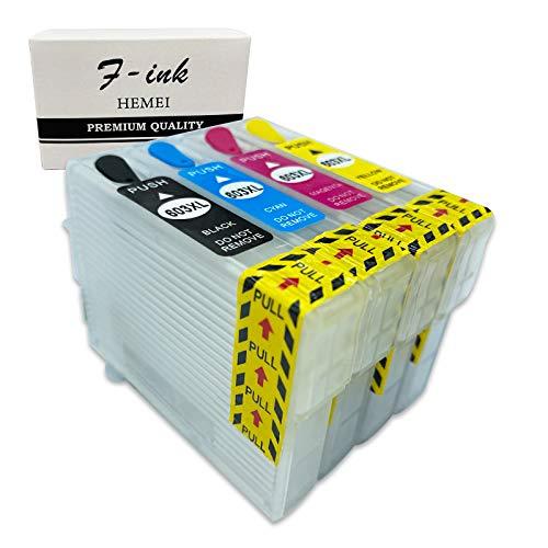 F-ink 4PK Cartucho de tinta recargable vacío de repuesto para cartuchos de tinta 603 o 603XL – 4 colores (603XL negro,...
