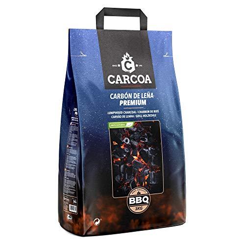 Carbón vegetal Carcoa 3 Kg. Especial para barbacoa. Rápido encendido y larga duración. Calidad premium.