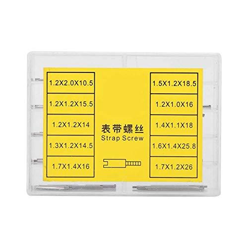 Tornillo de correa, pasadores de enlace de correa de reloj Juego de tornillos de correa Accesorios para herramientas de reparación de relojero con caja de almacenamiento de varios tamaños (2 cajas)