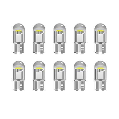 YnGia Transparent T10 W5W 501 ampoule LED 194168 ampoules, 10 pièces blanc froid 6000K 12V pour feux de position de voiture, éclairage intérieur, tableau de bord, plaque d'immatriculation (White)