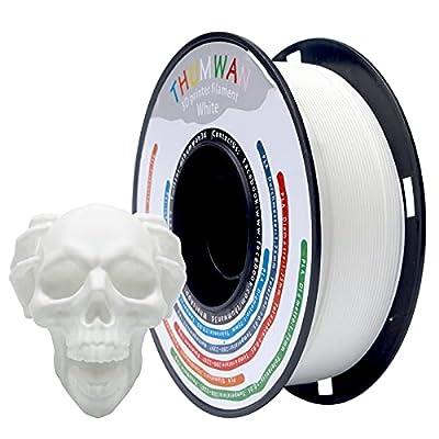 Filament PLA 1.75mm White, THUMWAN New Filament PLA, 3D Printer Filament PLA for 3D Printer and 3D Pen, 1Kg 1Spool