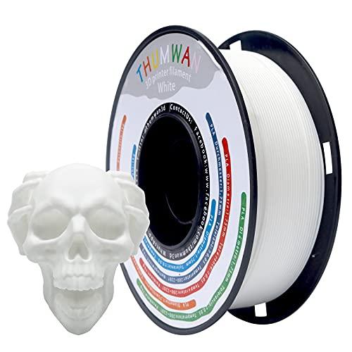 Filamento PLA 1,75 mm Bianco, THUMWAN Nuovo Filamento PLA, Stampante 3D Filamento PLA per Stampante 3D e Penna 3D, 1Kg 1Spool